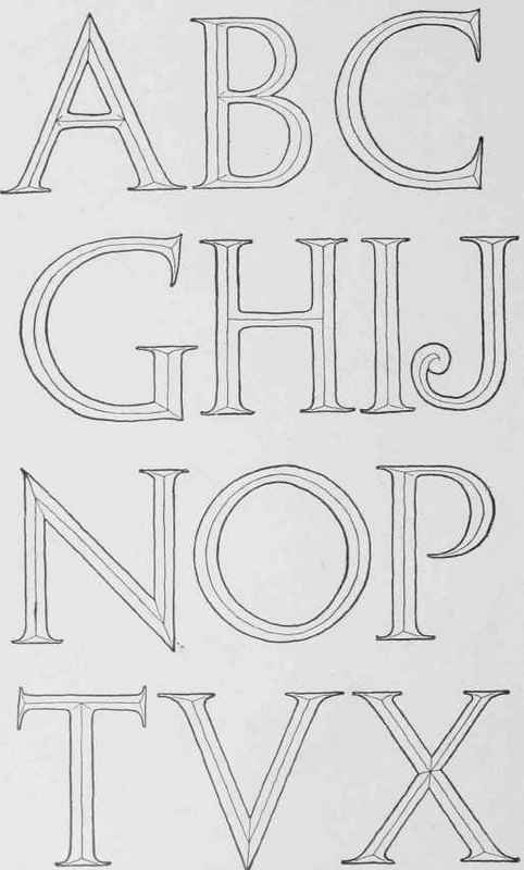 complete alphabet redrawn from inscription on architectural building see fig