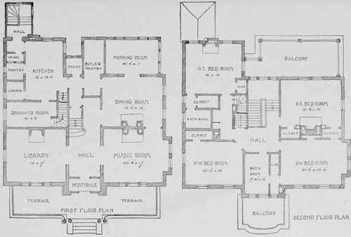 first and second floor plans of colonial residence for miss a study in pen and ink - Second Floor Floor Plans