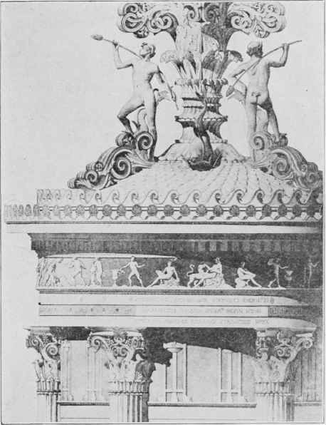 Fig. 77. Cnoragic Monument of Lysicrates, Athens, Upper Part Restored.