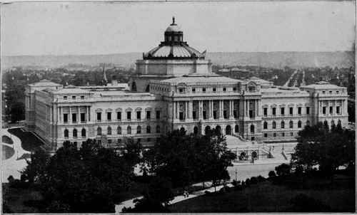 LIBRARY OF CONGRESS, WASHINGTON, D. C. J. L. Smithmeyer and Edward P. Casey. Architects. with Rome in Center and Bookstacks and Entrance Hall Radtiating from Center to Sides