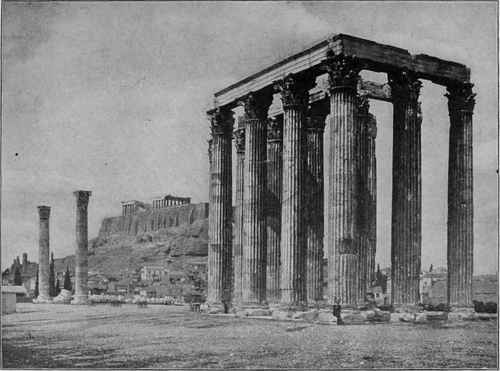 Remains of Corinthian Temple of Zeus, Athens. With distant view of the Acropolis.