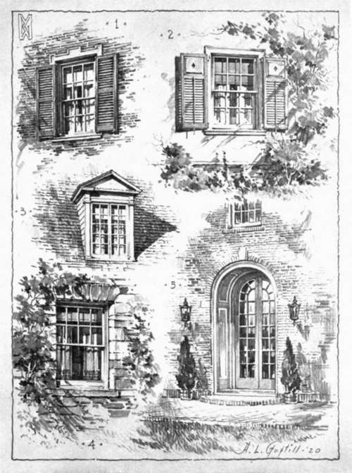 window pencil drawing. some door and window suggestions, with considerable attention to the representation of smaller architectural pencil drawing e