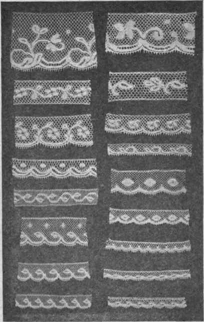 FIG. 16. French and German Valenciennes laces, machine made, suitable