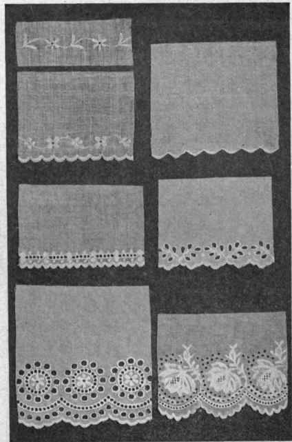 Fig. 19. - Embroidered edgings suitable for lingerie dresses and