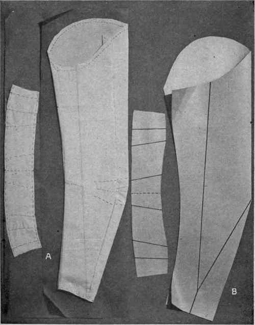 Fig. 81. Making cardboard sleeve and collar; A, sleeve lining placed