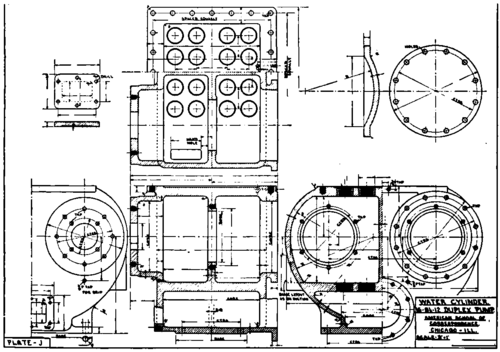 plate j  water cylinder mechanical drawing