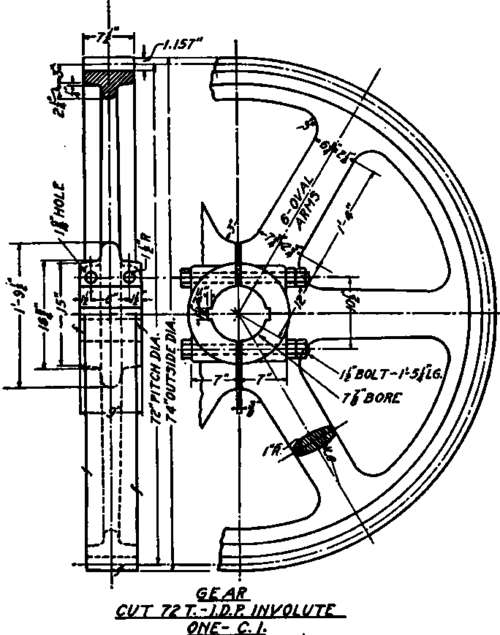 Gear With Split Hub Conventional Drawing