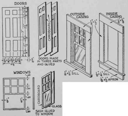 Left: A simple way to make the sash and doors. The latter vary in