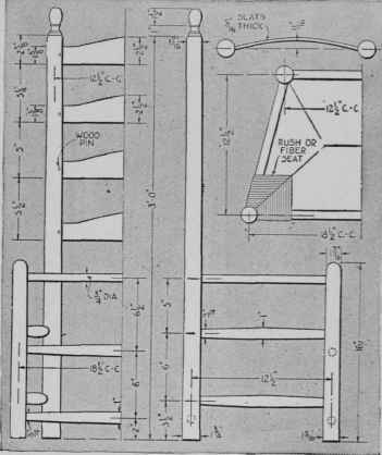 Measured drawings of colonial ladder back chair of fine proportions
