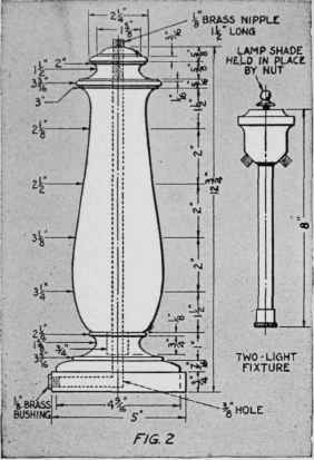 Turned Wooden Lamp Base: The base of the lamp is turned in a wooden chuck as shown in Fig.,Lighting