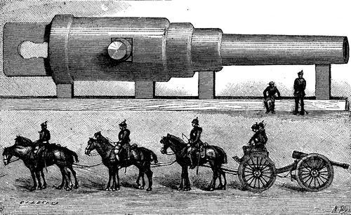 FIG. 1.   NEW 52 FOOT KRUPP GUN AND A GERMAN FIELD PIECE FIGURED ON THE SAME SCALE.