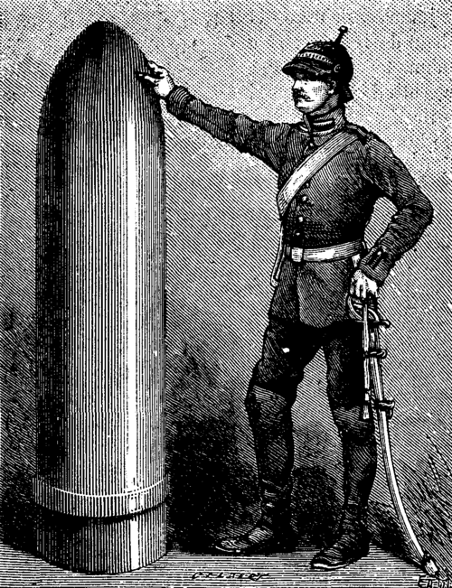 FIG. 2.   3,300 POUND PROJECTILE OF A KRUPP GUN IN COURSE OF MANUFACTURE.