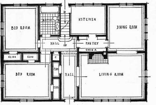 A Typical Arrangement Of All Rooms On One Floor The Living And Kitchen Are Grouped Snugly Together Bedrooms Arranged To Open