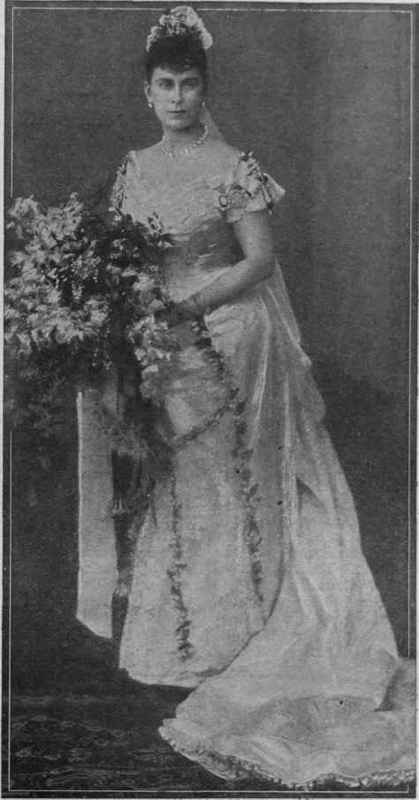 HM Queen Mary in her wedding dress The dress was made of white satin