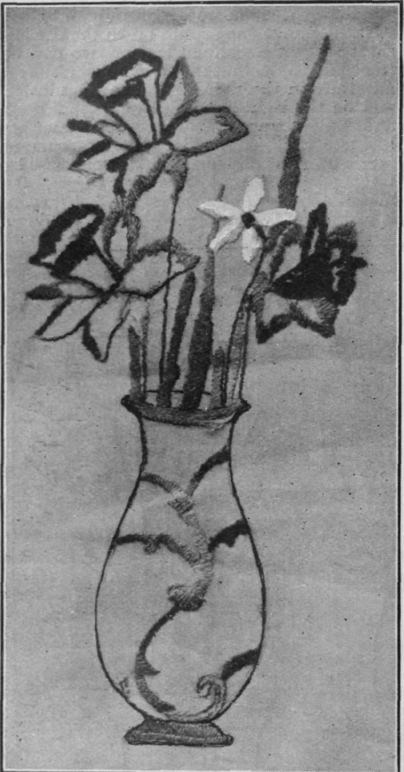 Filling A Vase With Embroidered Flowers