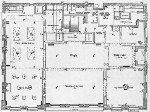 Example of a club building for Nightclub floor plans