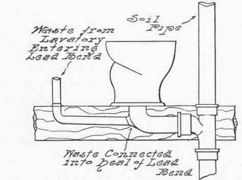 Waste Connected Into Heel Of Lead Bend.