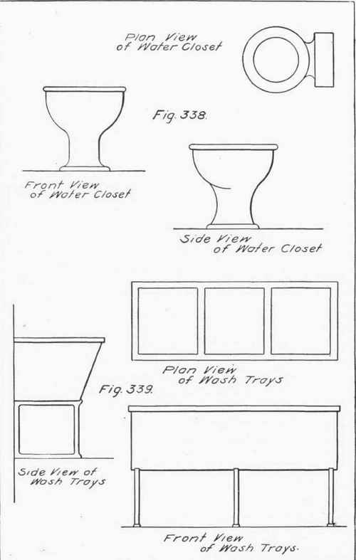 Plan and Elevations of Common Fixtures. Drawing For The Plumber  Continued