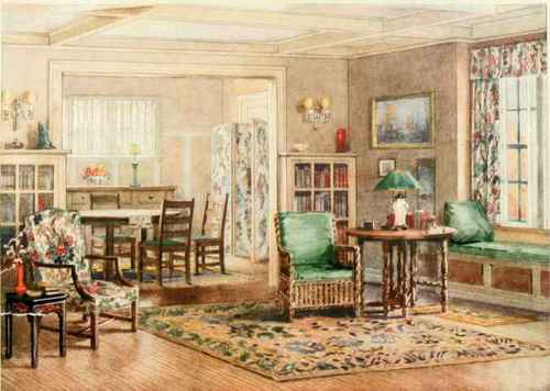 PLATE 37. A BUNGALOW LIVING-ROOM AND DINING-ROOM WITH BUFF WALLS AND ...