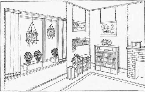 Living Room Clipart Colouring Pages