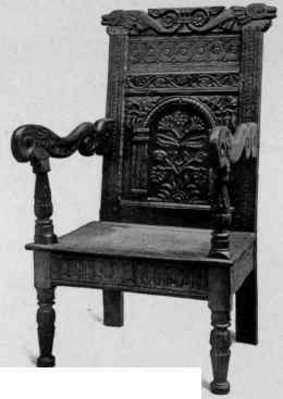 High Quality Carved Oak Wainscot Chair, About 1650.