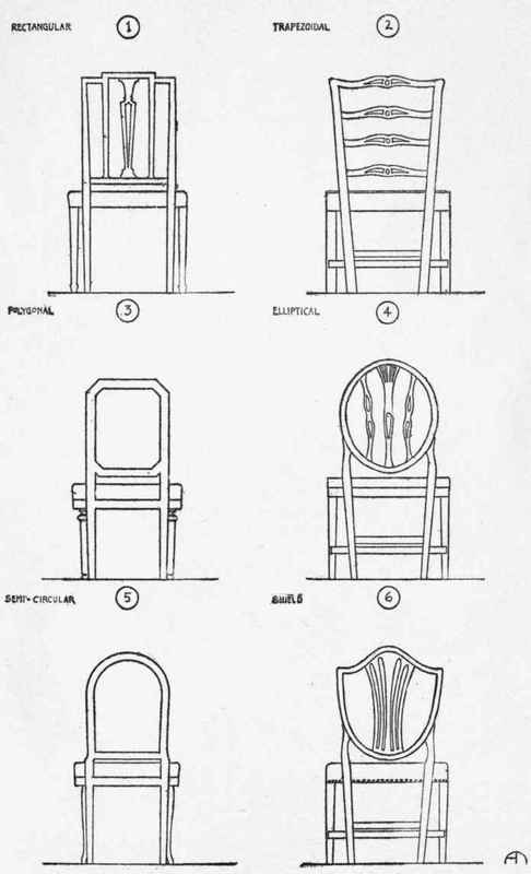 Chair outline drawing for Chair back design names