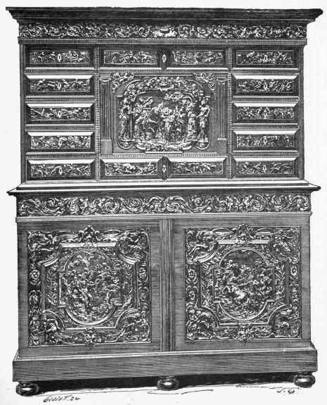 Ebony Cabinet In Two Parts, Carved With Various Subjects, Among Which Are  The Continence
