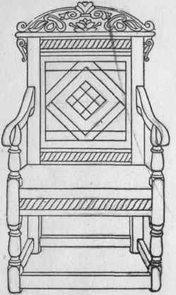 b. Jacobean Oak Panel back or Wainscot Chair, c. 1630. Carved, turned and inlaid.