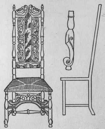 b. Late Jacobean Walnut Chair, c. 1685.