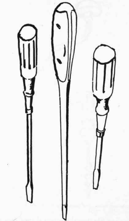Several screw drivers of various size will be found handy