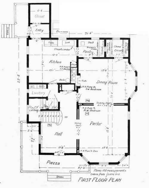 Floor and framing plans for w a sylvester 39 s house How to read plans for a house