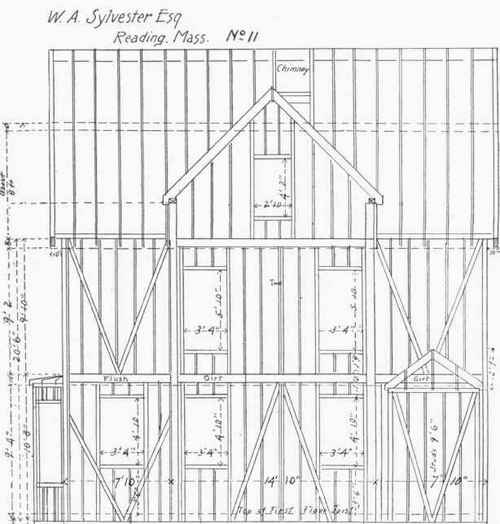 Floor And Framing Plans For W. A. Sylvester's House, Reading, Mass