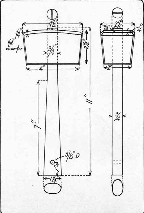 Fig. 154. Working drawing of mallet.