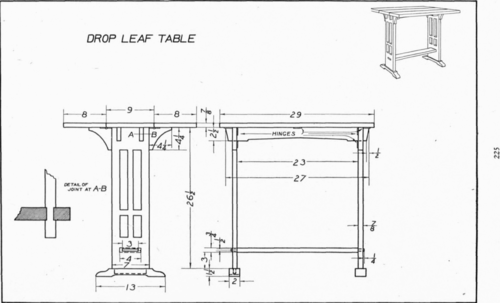 Plate 38 Drop Leaf Table Mechanical Drawing 111
