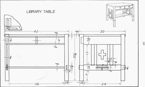 table mechanical drawing