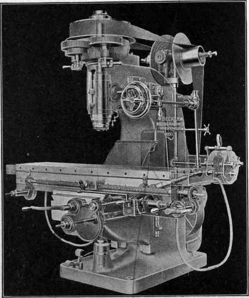 Fig. 230. Vertical Milling Machine with Working Parts Shown in Ghost