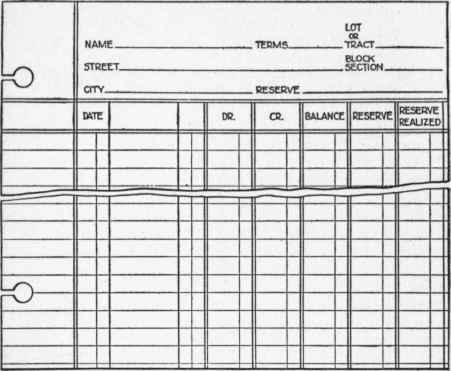 Section 23 Subdivision Customers Ledgers – Receipt Ledger